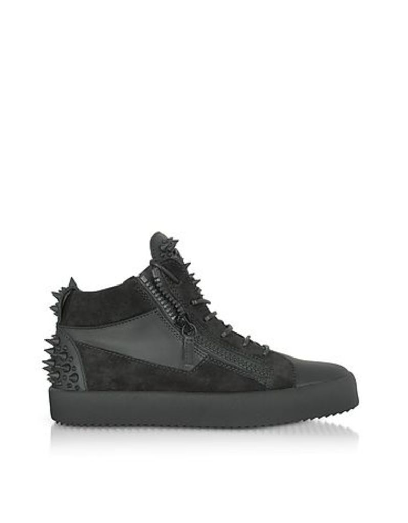 Giuseppe Zanotti - Black Suede and Leather Studded Men's Sneakers
