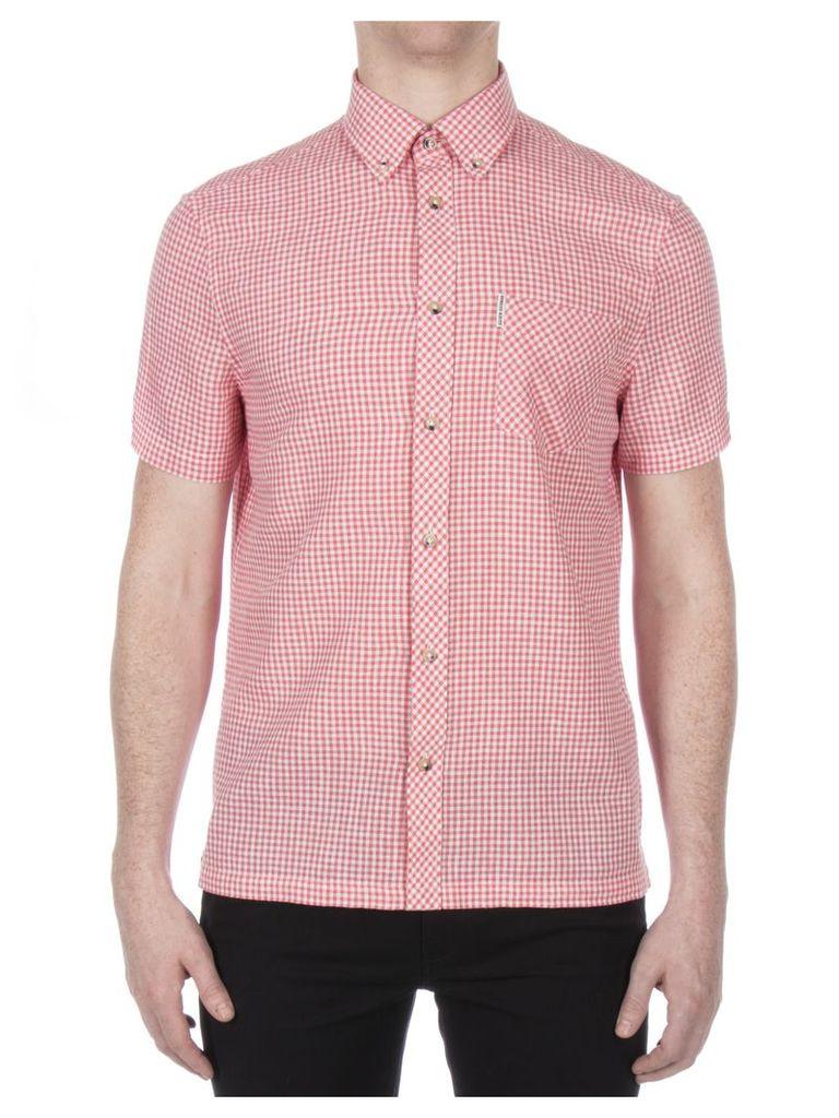 Short Sleeve Linen Gingham Shirt XL 25 Fuschia