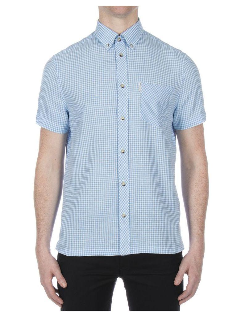 Short Sleeve Linen Gingham Shirt XL EP2 Summer Sky