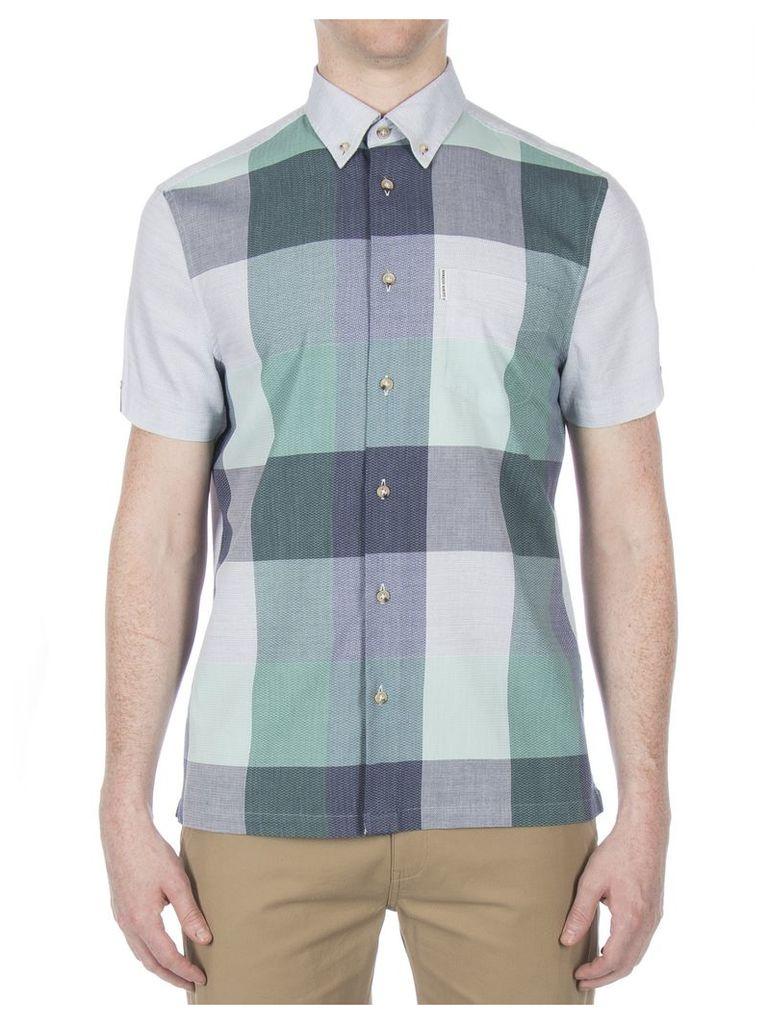 Short Sleeve Front Panel Check Shirt Med E28 Light Grey