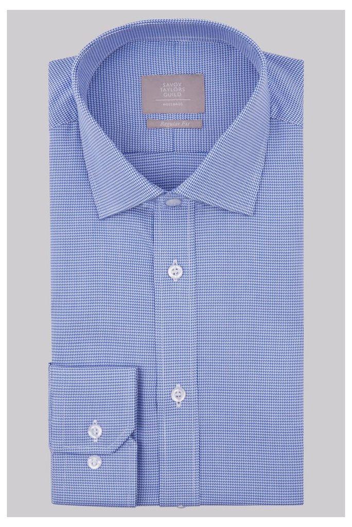 Savoy Taylors Guild Regular Fit Royal Blue Single Cuff Textured Shirt