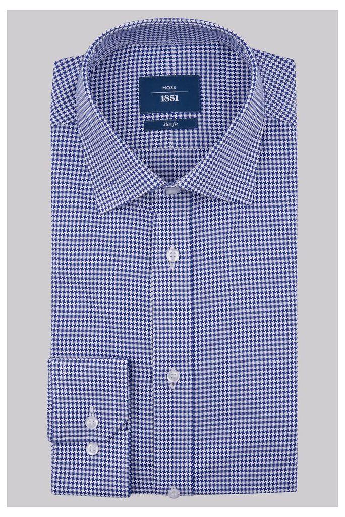 Moss 1851 Slim Fit Royal Blue Single Cuff Houndstooth Shirt
