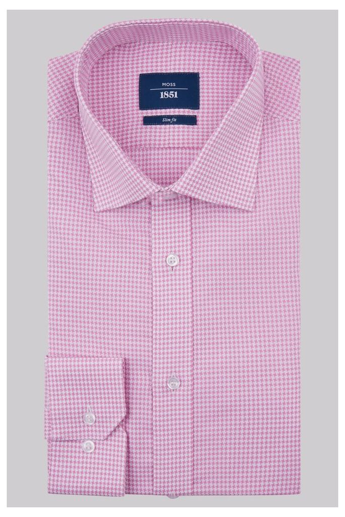 Moss 1851 Slim Fit Pink Single Cuff Houndstooth Shirt
