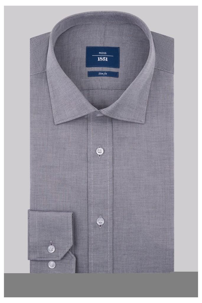 Moss 1851 Slim Fit Charcoal Single Cuff Textured Shirt
