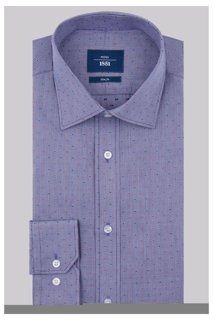 Moss 1851 Slim Fit Navy & Red Single Cuff Textured Shirt