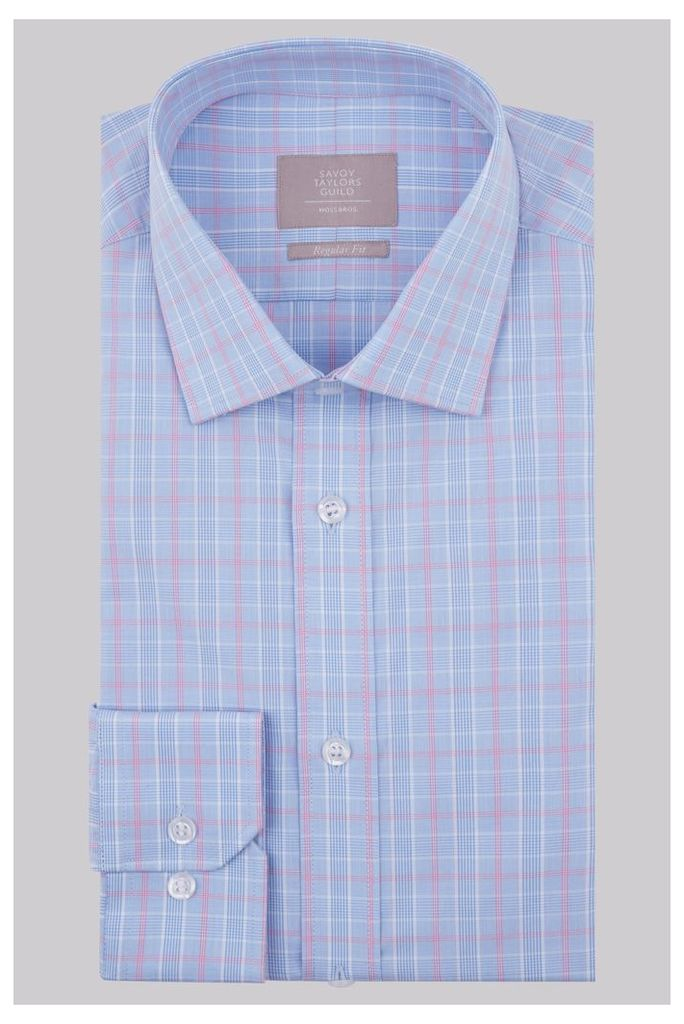 Savoy Taylors Guild Regular Fit Pink & Blue Single Cuff Check Shirt