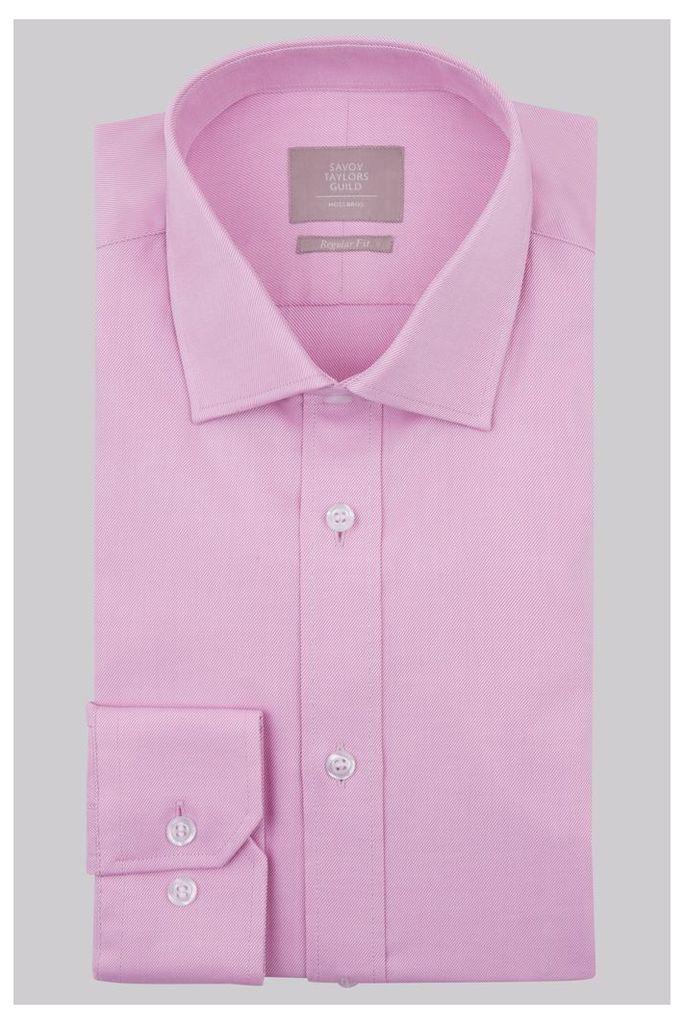 Savoy Taylors Guild Regular Fit Pink Single Cuff Twill Shirt