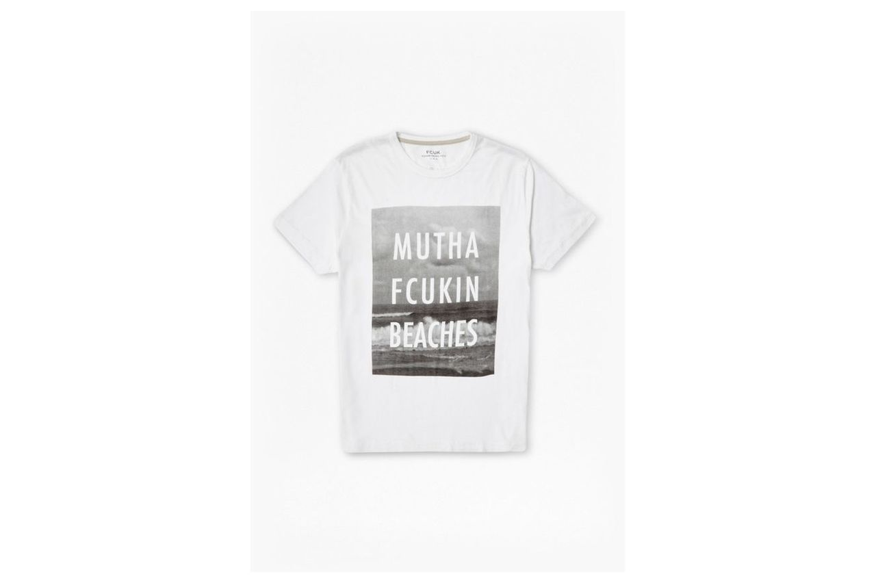 Mutha Fcukin Beaches Slogan T-Shirt - optic white