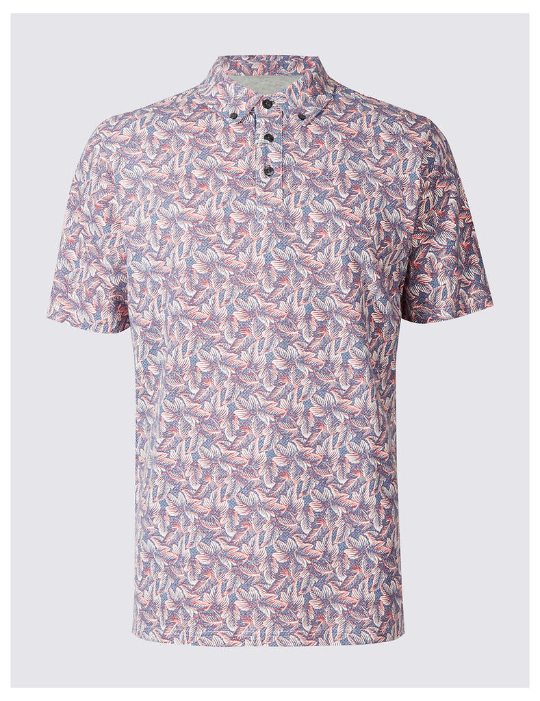 M&S Collection Pure Cotton Printed Polo Shirt
