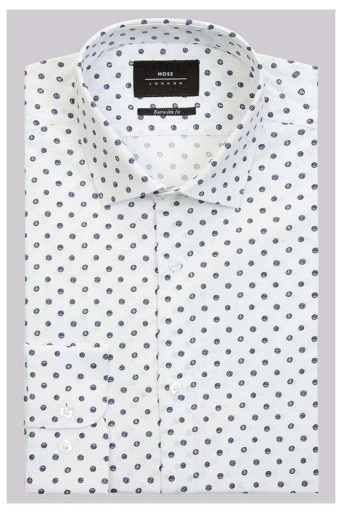 Moss London Extra Slim Fit White & Navy Single Cuff Spot Stretch Shirt