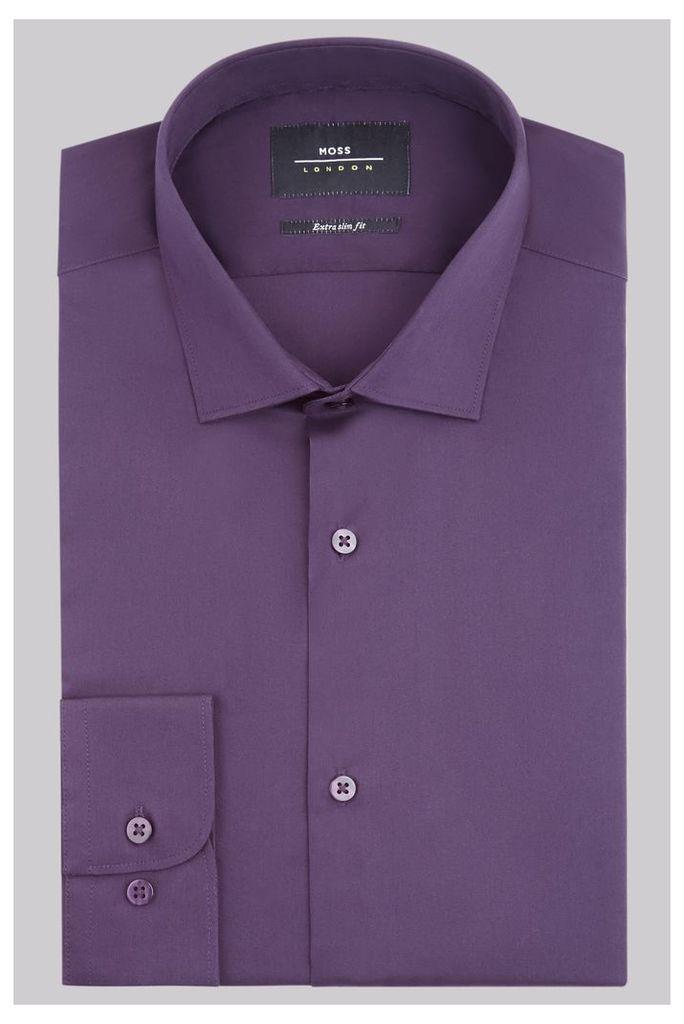 Moss London Extra Slim Fit Purple Single Cuff Stretch Shirt