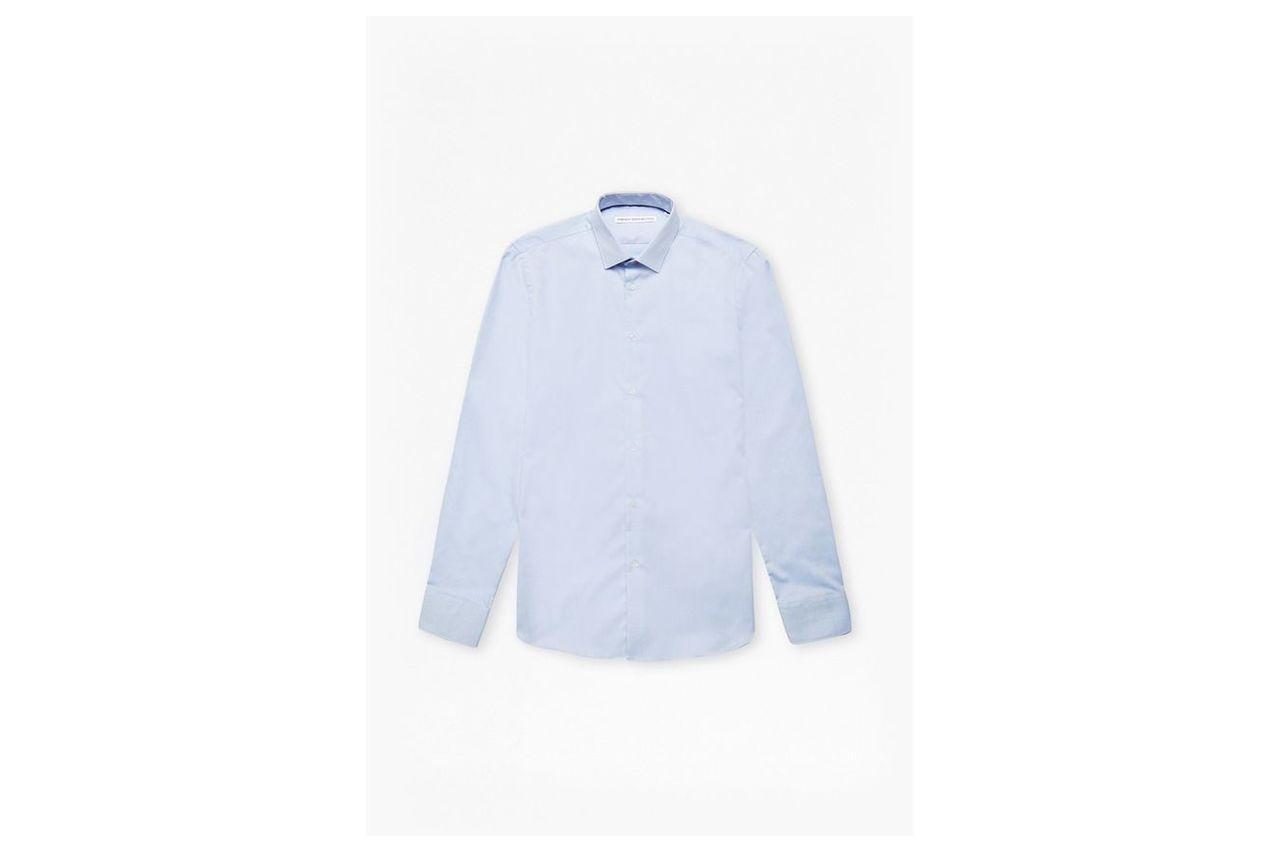 Sky Oxford Spot Slim Fit Shirt  - sky