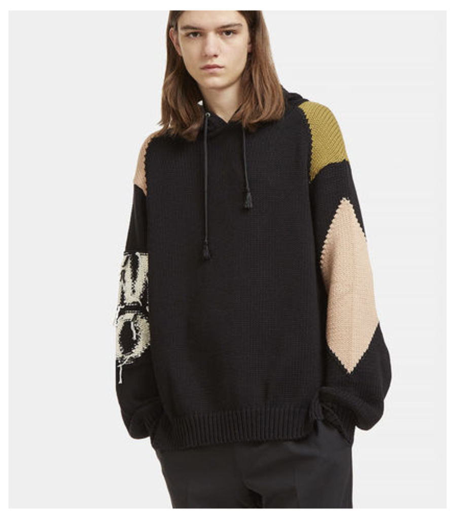 Contrast Frayed Patch Hooded Sweater