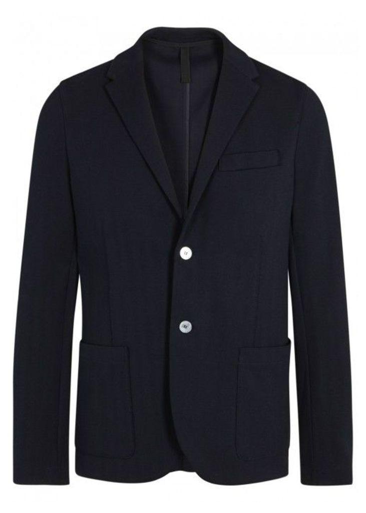 Harris Wharf London Navy Herringbone Cotton Blazer - Size 40