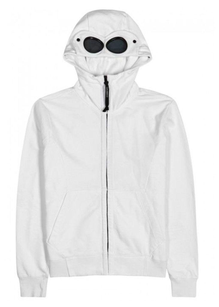 C.P. Company Goggle White Hooded Cotton Sweatshirt - Size XL