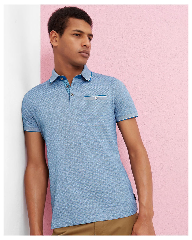 Ted Baker Oxford cotton jacquard polo Teal