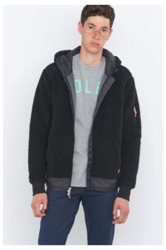 Poler Shaggy Black Zip Hoodie, BLACK