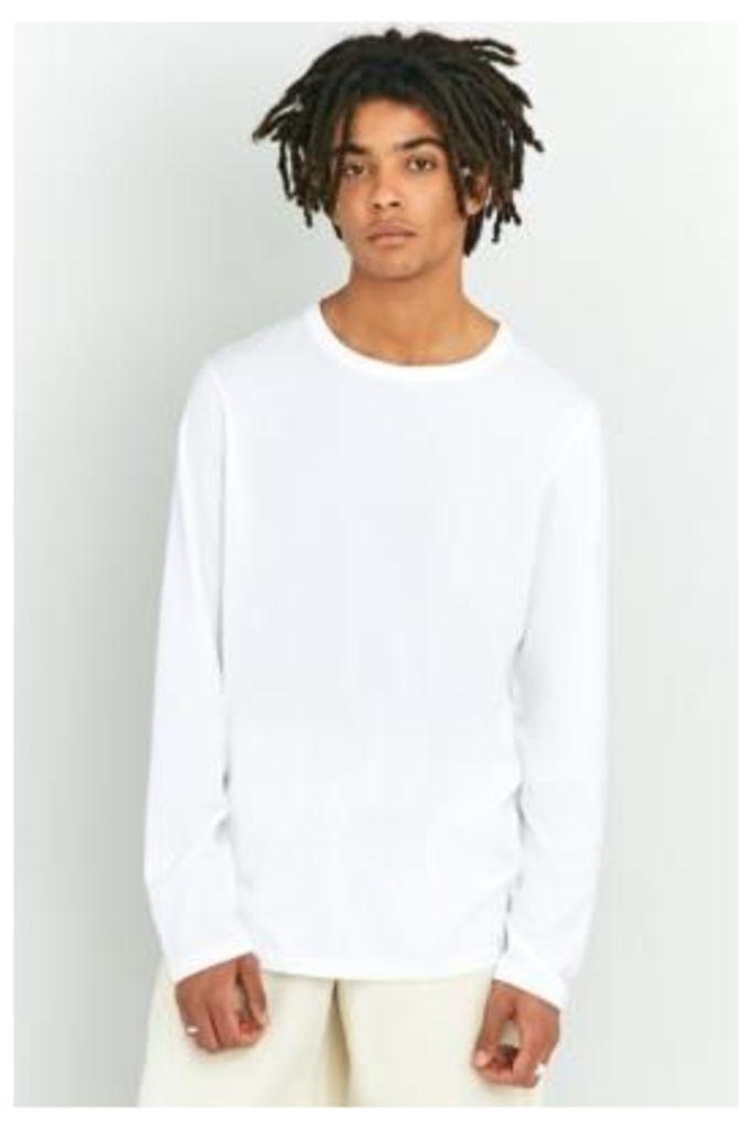 UO Long-Sleeve White Crewneck T-shirt, WHITE