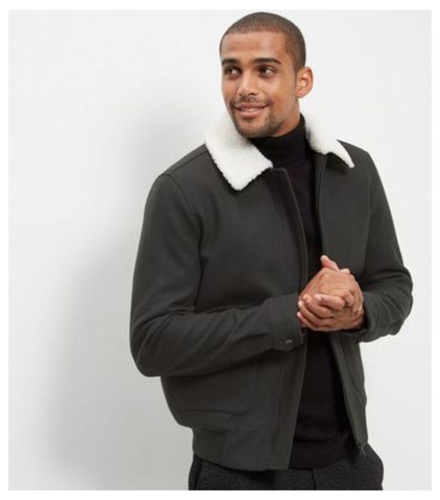 Dark Green Wool Mix Aviator Jacket