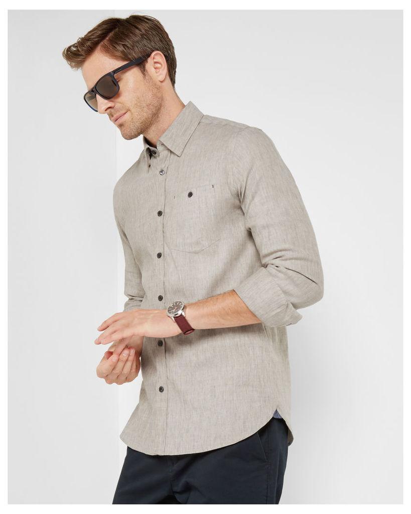 Ted Baker Stretch linen shirt Natural