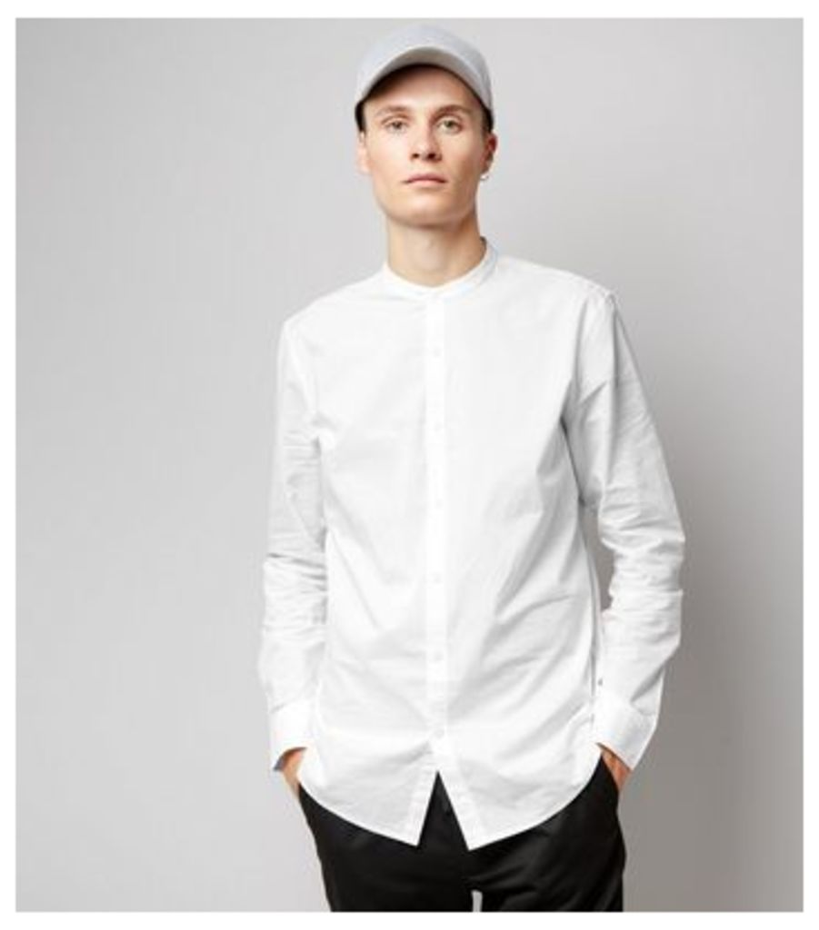 White Cotton Grandad Collar Long Sleeve Shirt