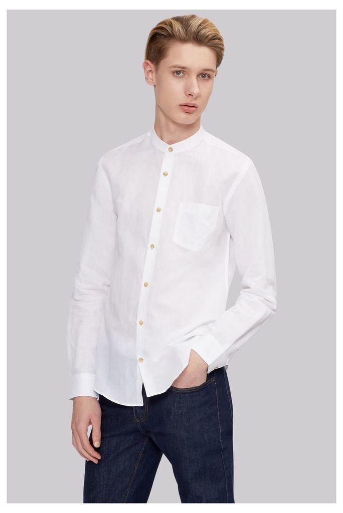 Moss London Extra Slim Fit White Linen Grandad Collar Casual Shirt