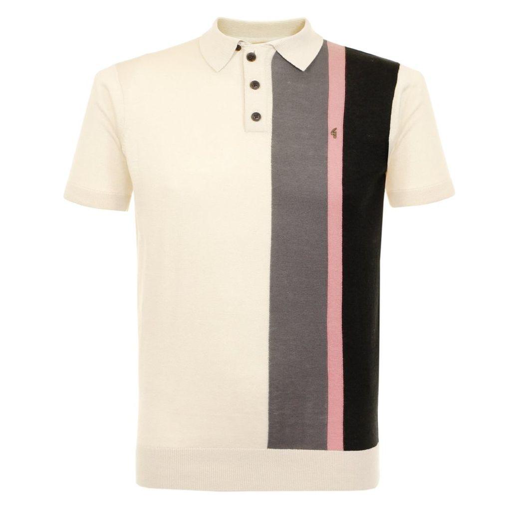 Gabicci Striped Knit Oat Polo Shirt V38GK06