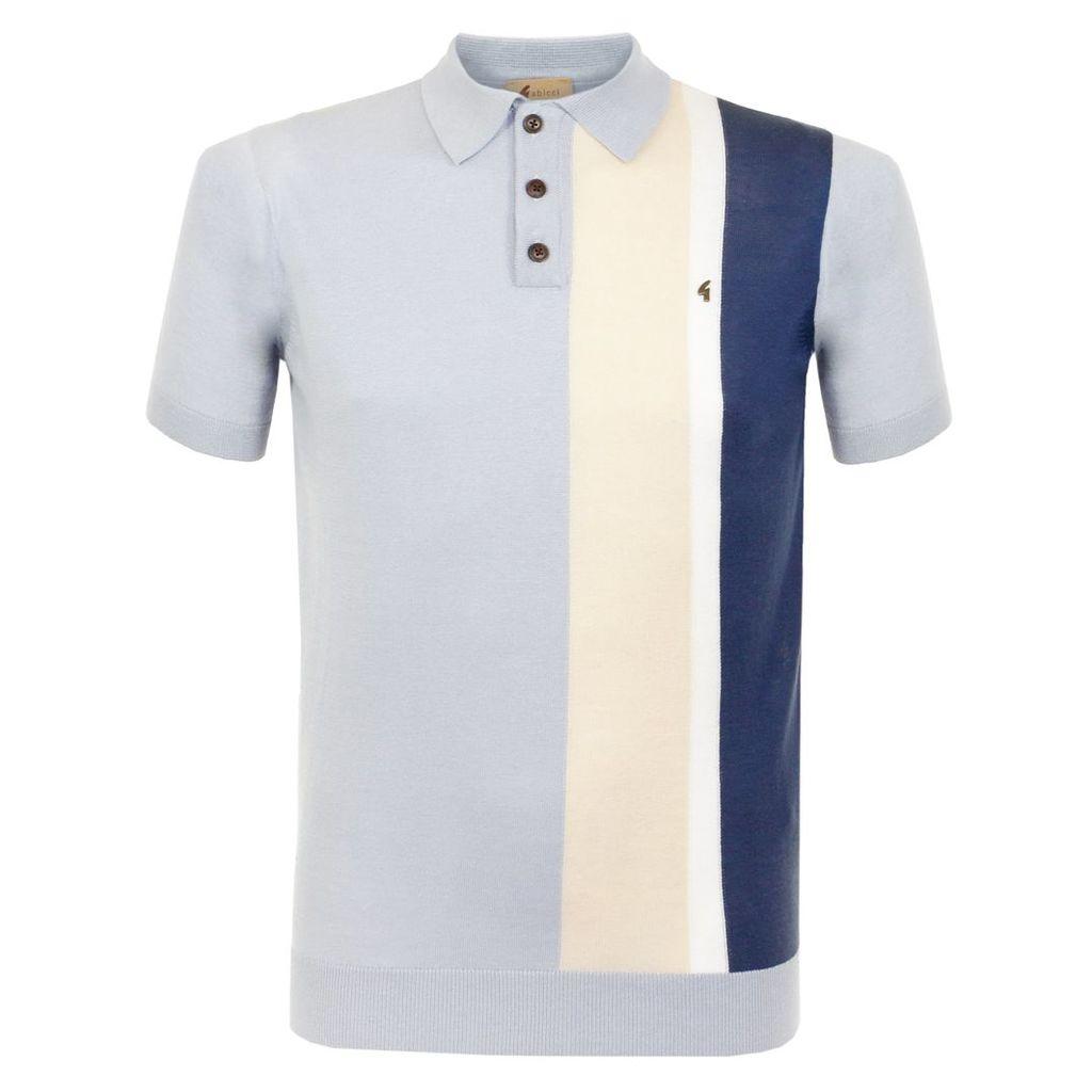 Gabicci Striped Knit Blue Polo Shirt V38GK06