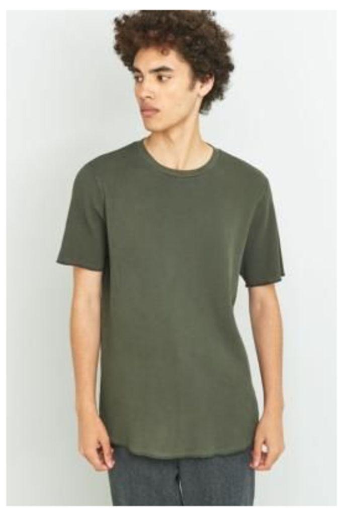 Commodity Stock Khaki Short Sleeve Pigment Washed Waffle T-shirt, KHAKI