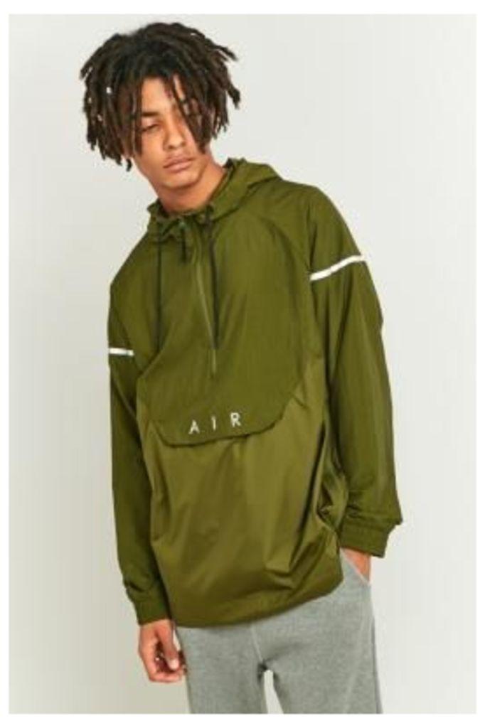 Nike Green Nylon Hybrid Pop-Over Hoodie Jacket, GREEN