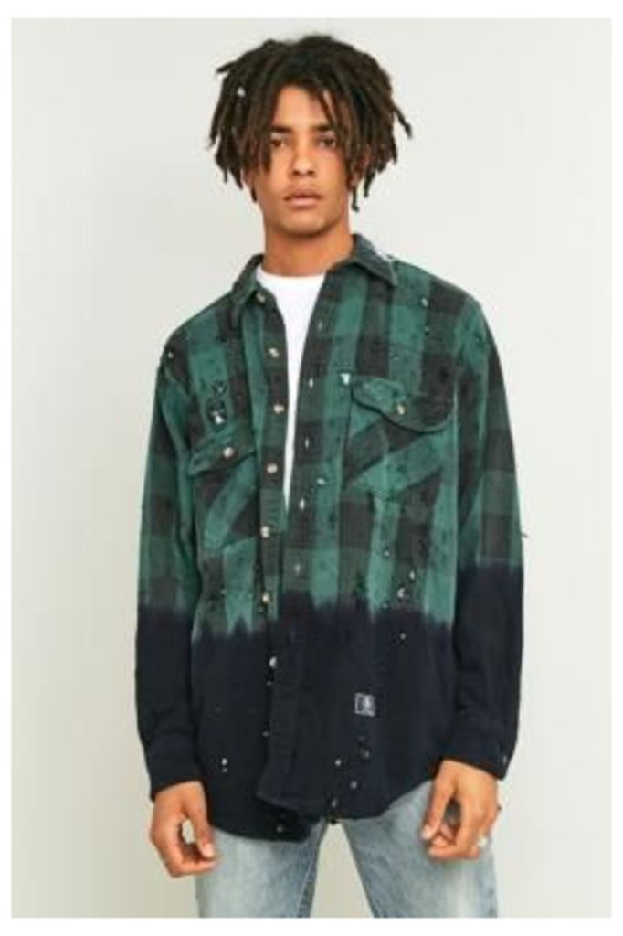U.S. Alteration Bleach Dyed Green Flannel Shirt, GREEN