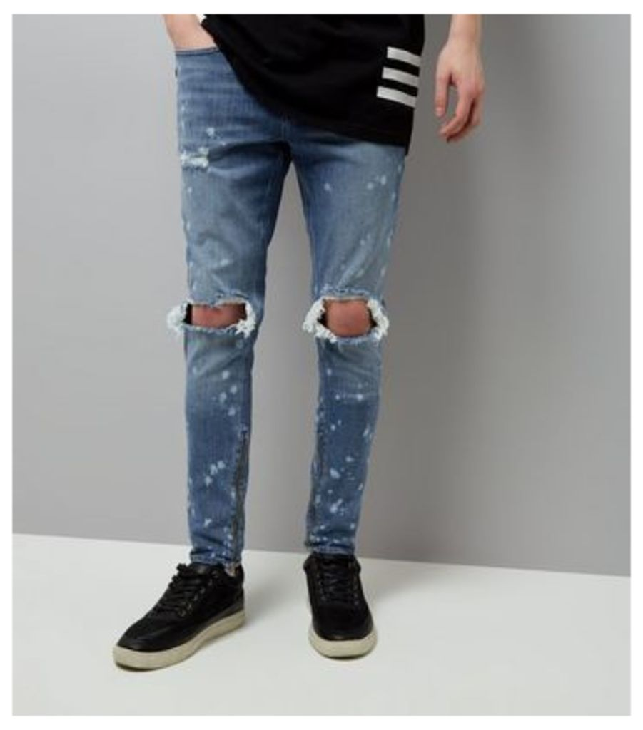 Blue Bleached Spray Ripped Knee Super Skinny Jeans