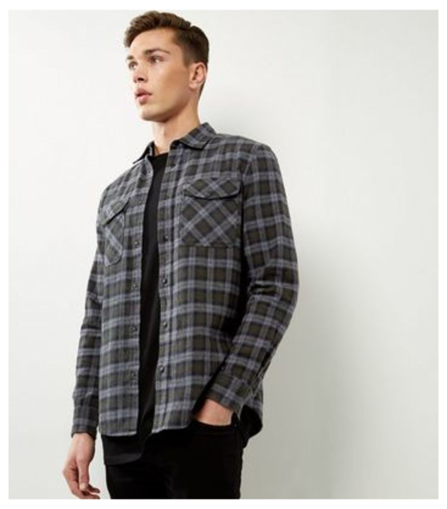 Khaki Check Cotton Double Pocket Long Sleeve Shirt