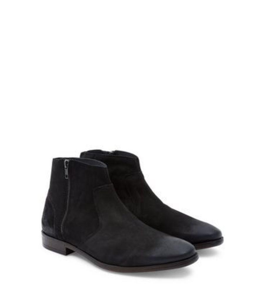 Black Suede Zip Side Chelsea Boots