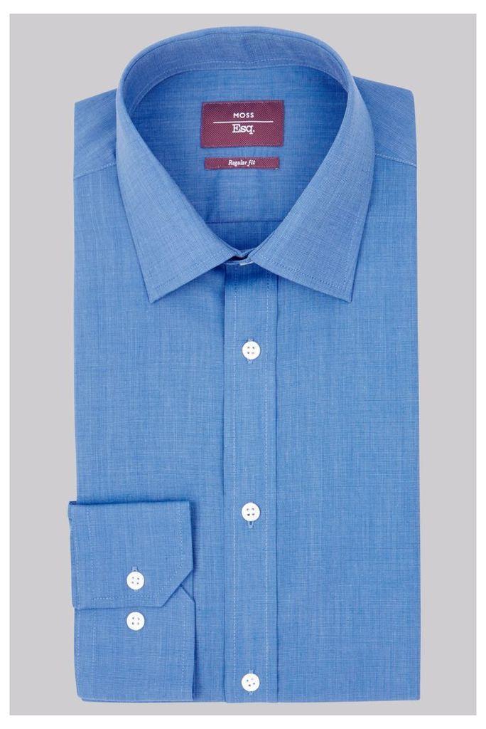 Moss Esq Regular Fit Bright Blue Single Cuff Shirt