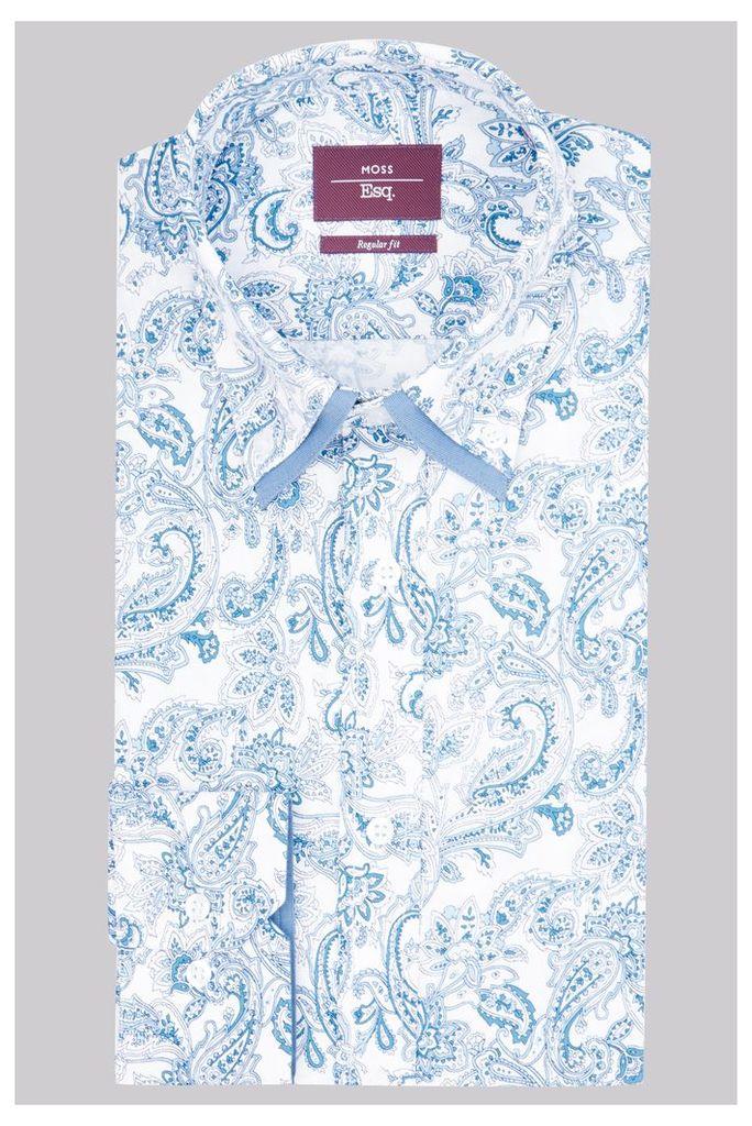 Moss Esq. Regular Fit Blue Single Cuff Paisley Double Collar Shirt