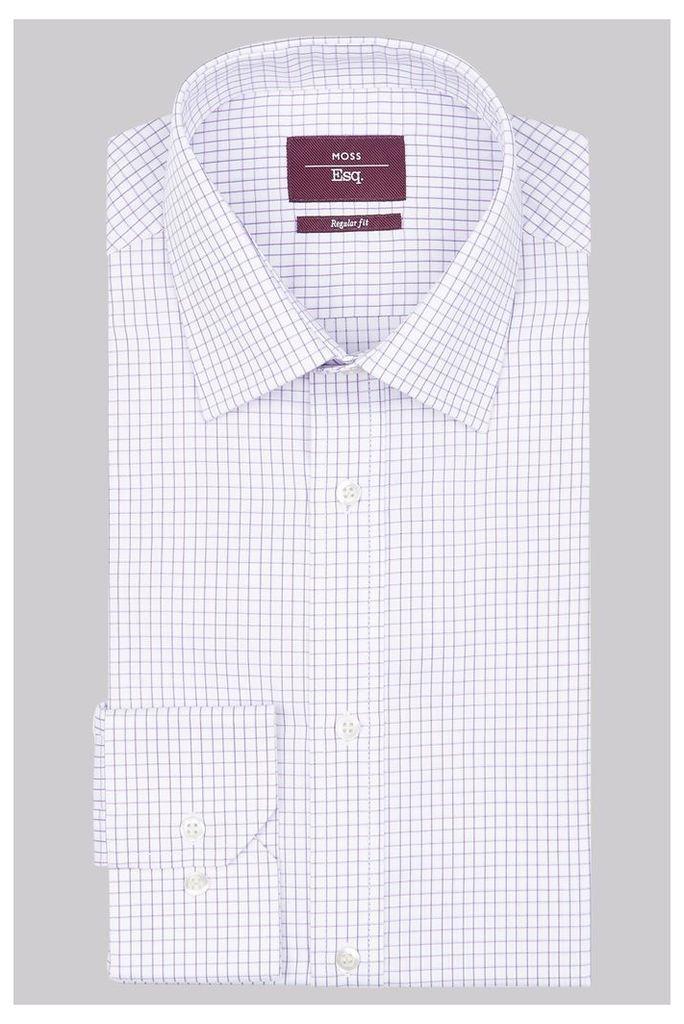 Moss Esq Regular Fit Lilac Single Cuff Twill Check Shirt