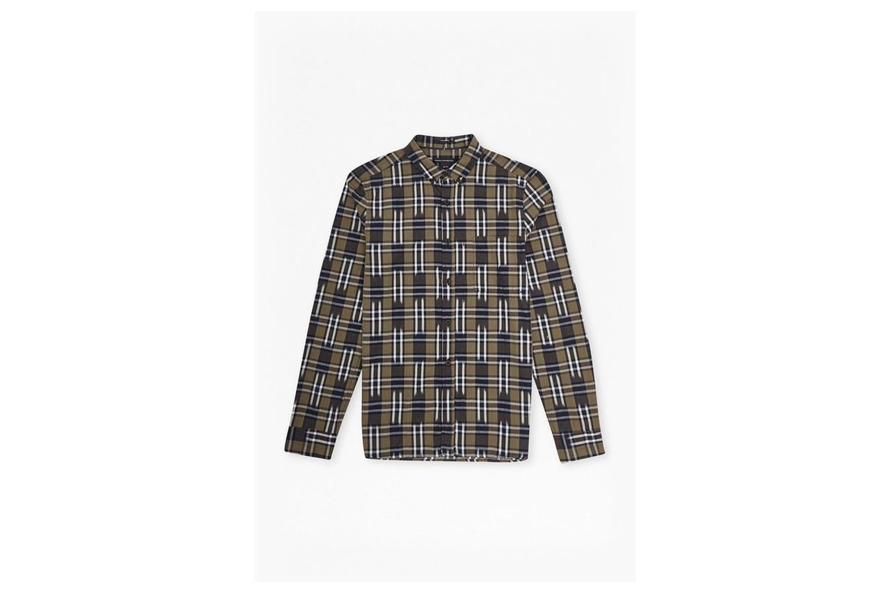 Ikat Check Slim Fit Shirt  - tarmac