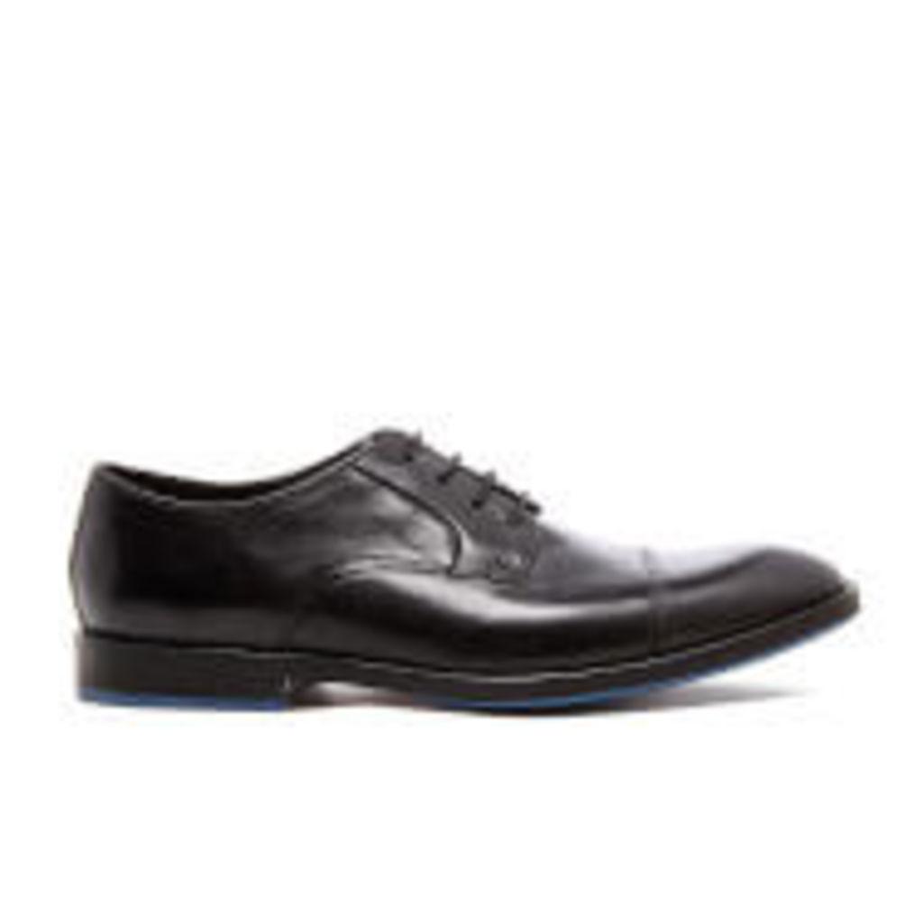 Clarks Men's Prangley Cap Leather Derby Shoes - Black - UK 11
