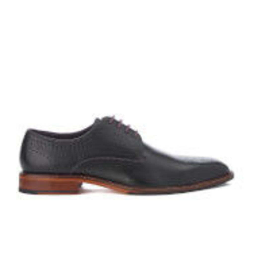 Ted Baker Men's Marar Leather Punched Detail Derby Shoes - Black - UK 10