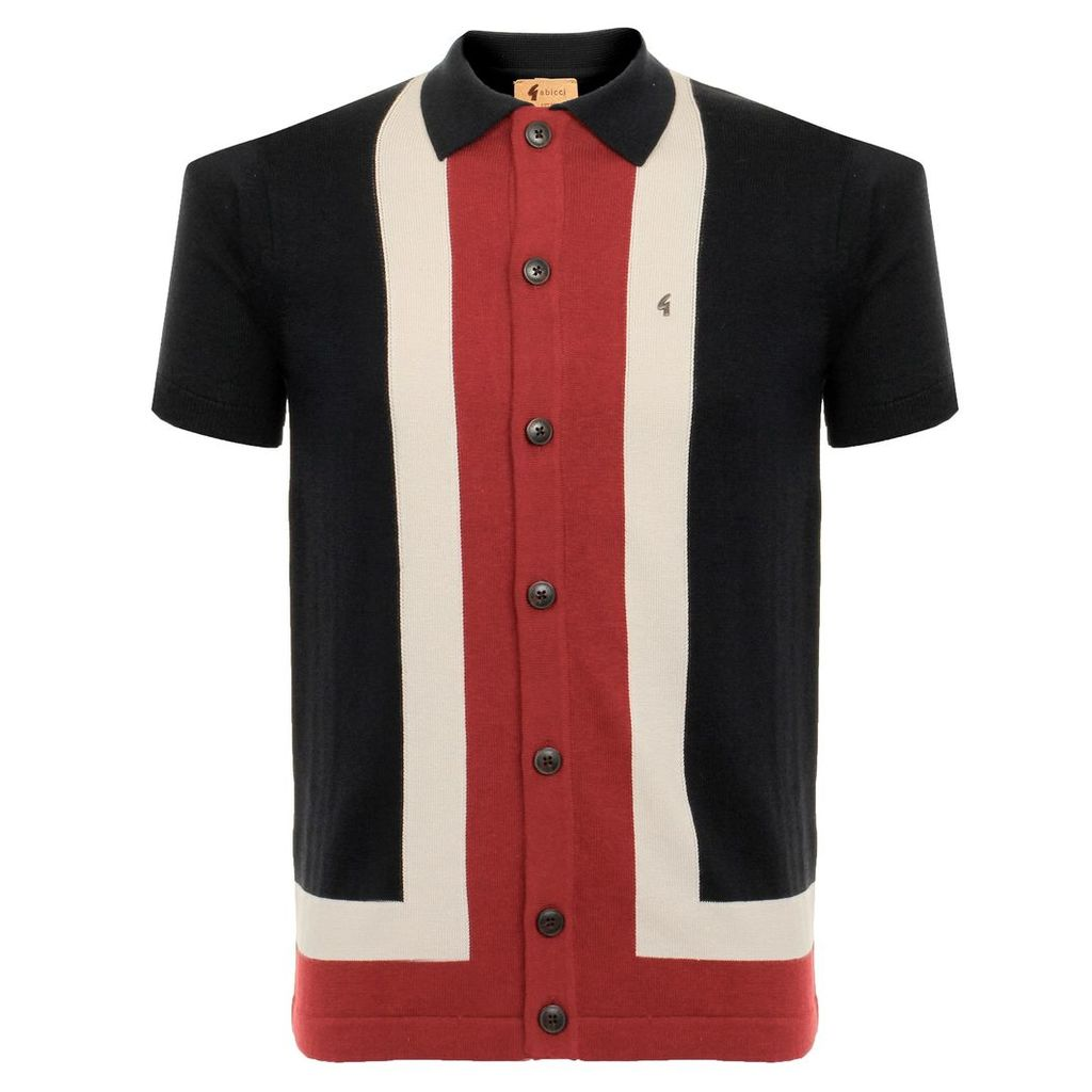 Gabicci Angelo Block Striped Navy Polo Shirt V38GM07