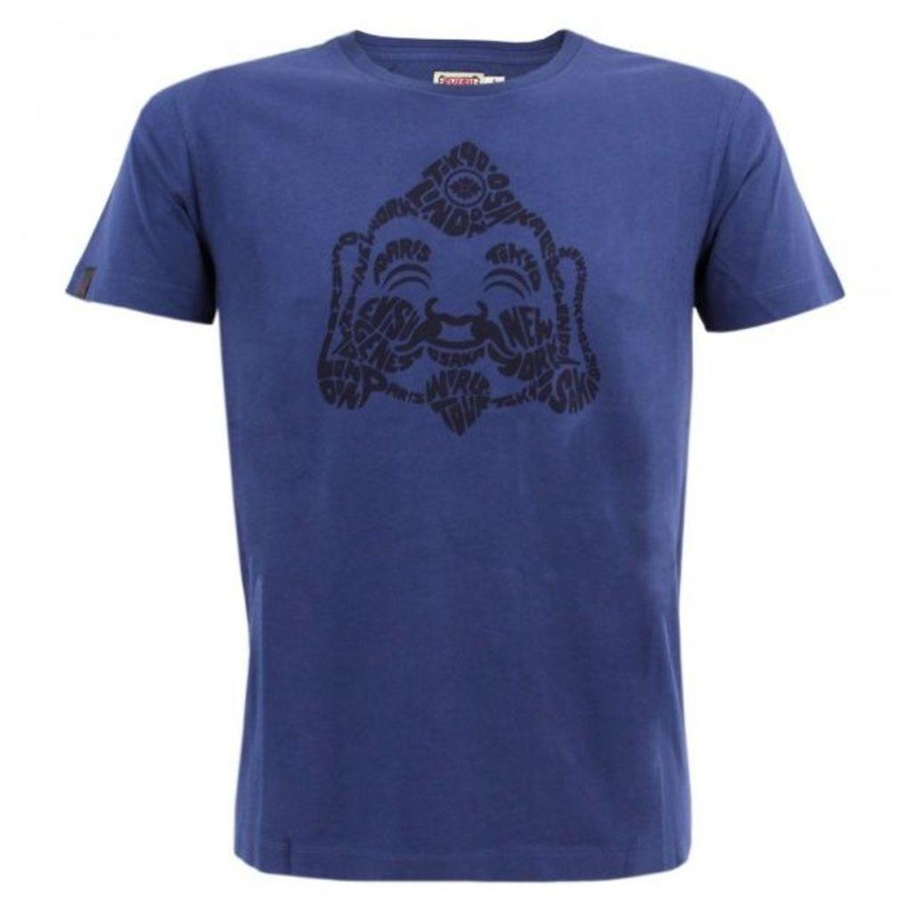 Evisu EVG Teadog Godhead Print Blue T-Shirt S14EGMTS9500