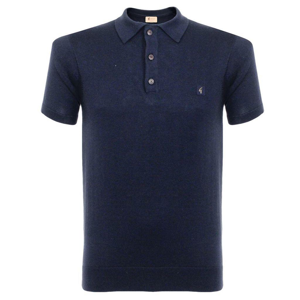 Gabicci Knit Navy Polo Shirt V38GK04