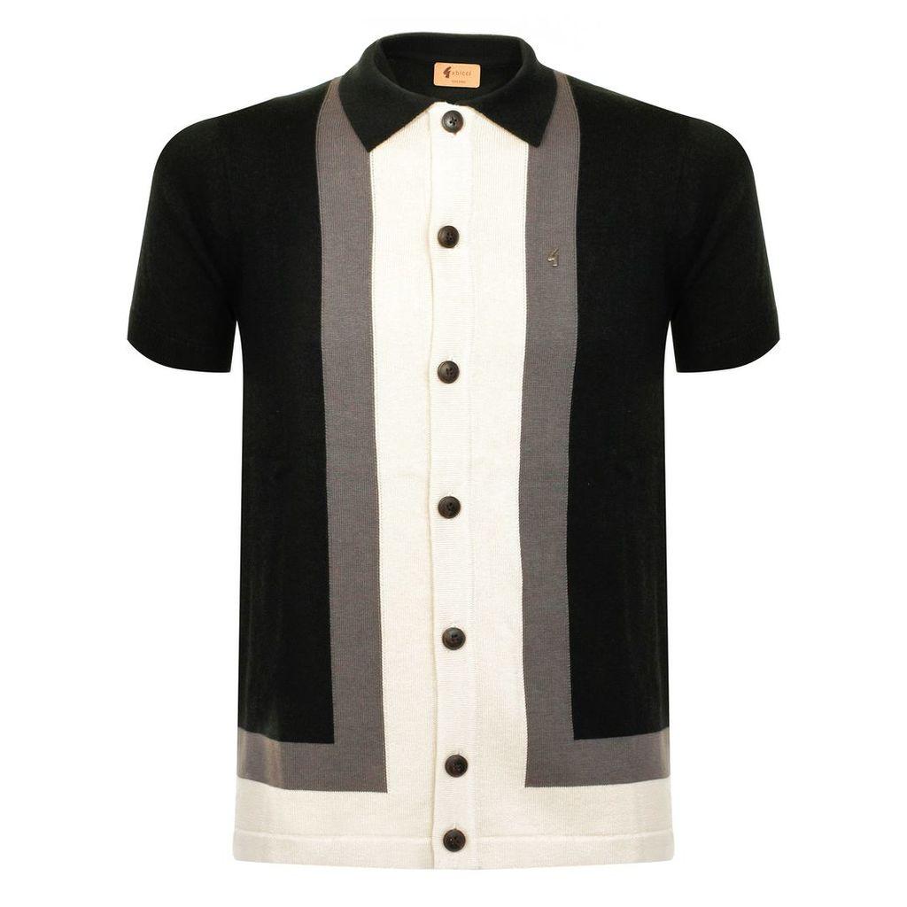 Gabicci Angelo Block Striped Black Polo Shirt V38GM07