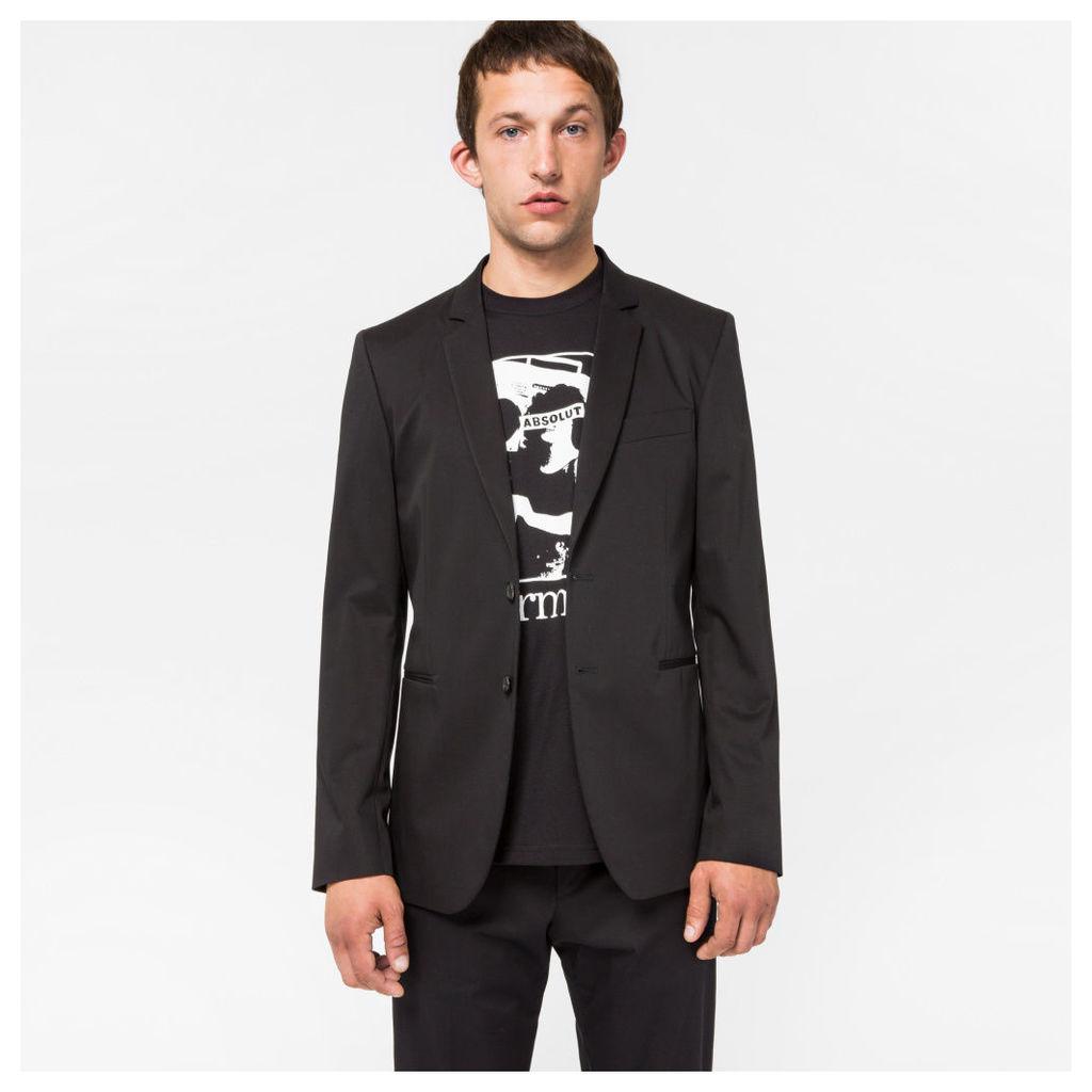Men's Slim-Fit Black Stretch-Cotton Buggy-Lined Blazer