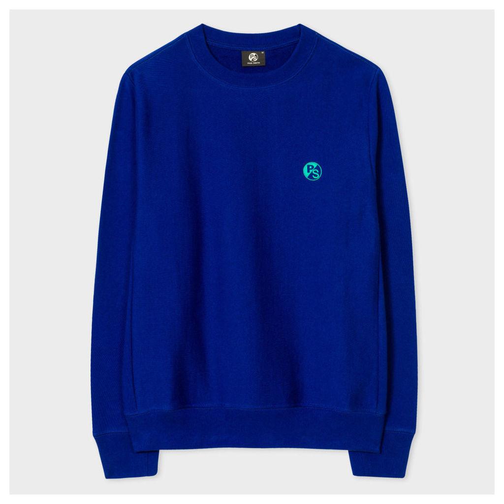 Men's Blue Embroidered PS Logo Organic-Cotton Sweatshirt