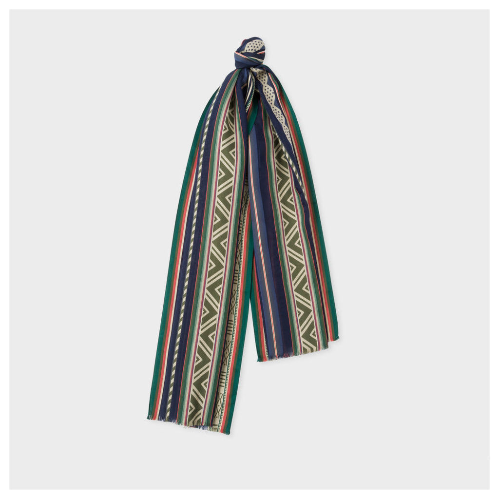 Men's Green And Navy 'Indian Summer' Pattern Cotton-Silk Scarf