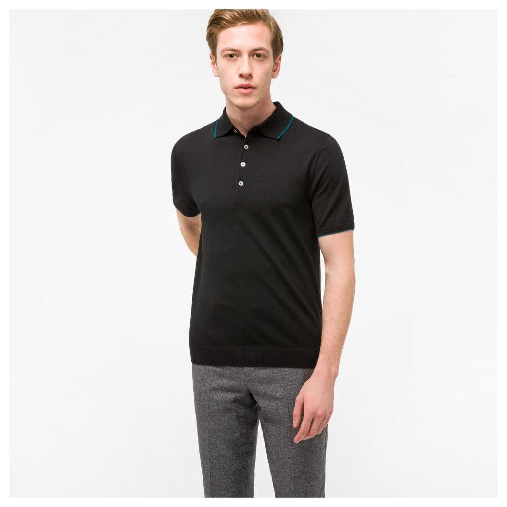 Men's Black Merino-Wool Knitted Polo Shirt