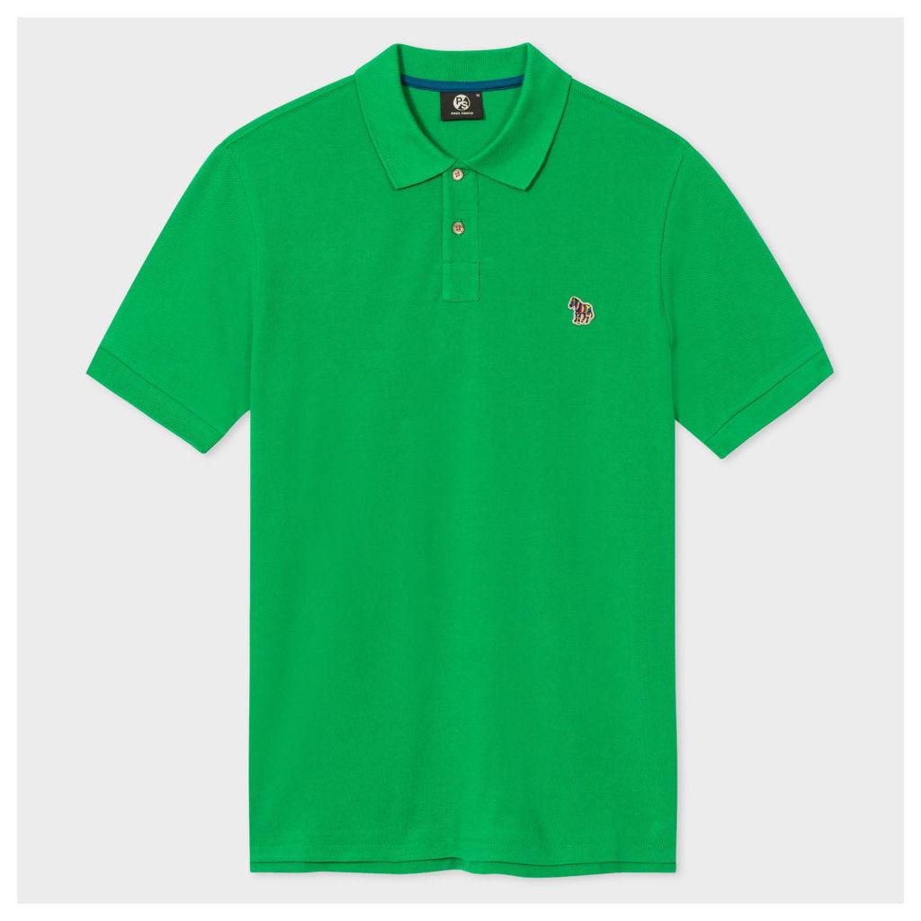 Men's Green Organic Cotton-Piqué Zebra Logo Polo Shirt