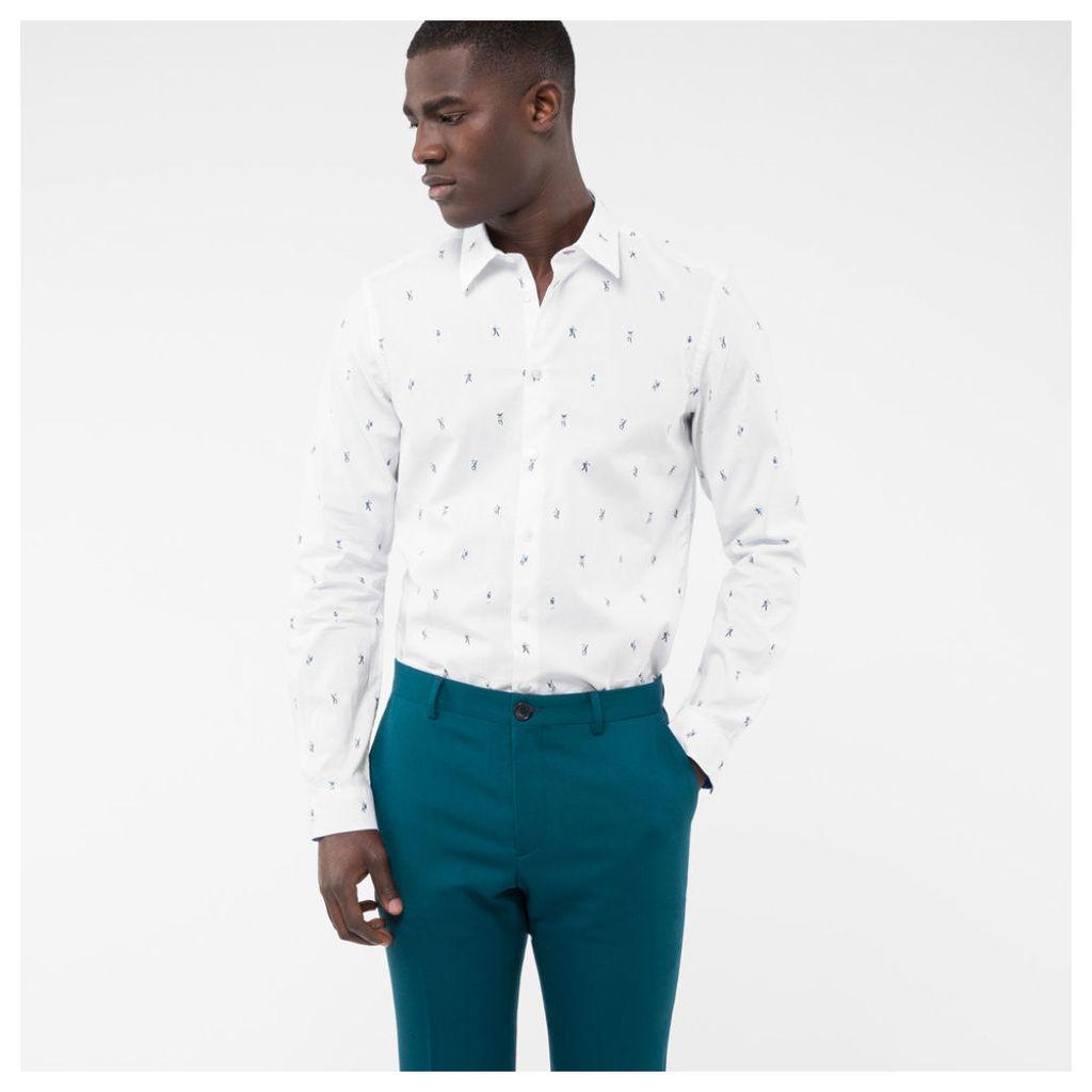 Men's Tailored-Fit White 'Dancing Dice' Fil Coupé Cotton Shirt